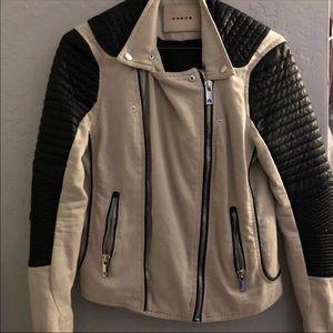 BLANK NYC Linen & Leather Moto Jacket